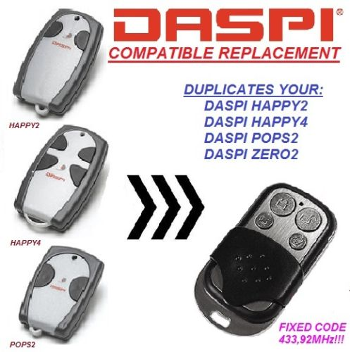 DASPI Happy 2, DASPI Happy 4 Replacement, Universal remote control dupliactor, transmitter 433.92 MHZ Key Fob
