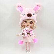 Наряды для куклы Blyth, розовый костюм кролика, включая сумку, шляпу и комбинезон для 1/6, pullip jerryberry licca icy dbs doll