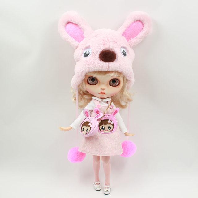 Neo Blythe Doll Pink Rabbit Suit Including Bag & Hat & Stocking
