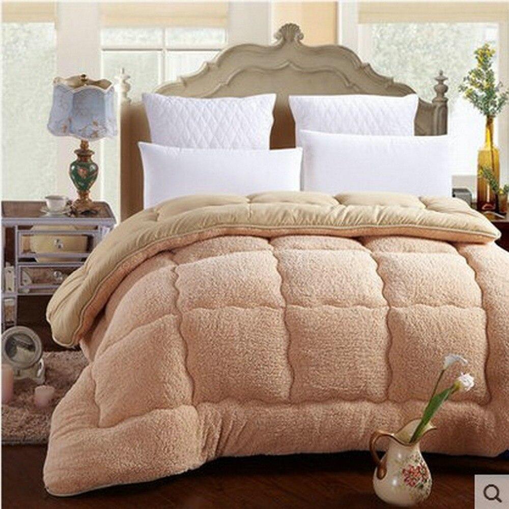 Camelhair Warm Winter Wool Quilt Thicken Comforter Duvet Blanket Lamb Down Fabric Filling Bedding Set