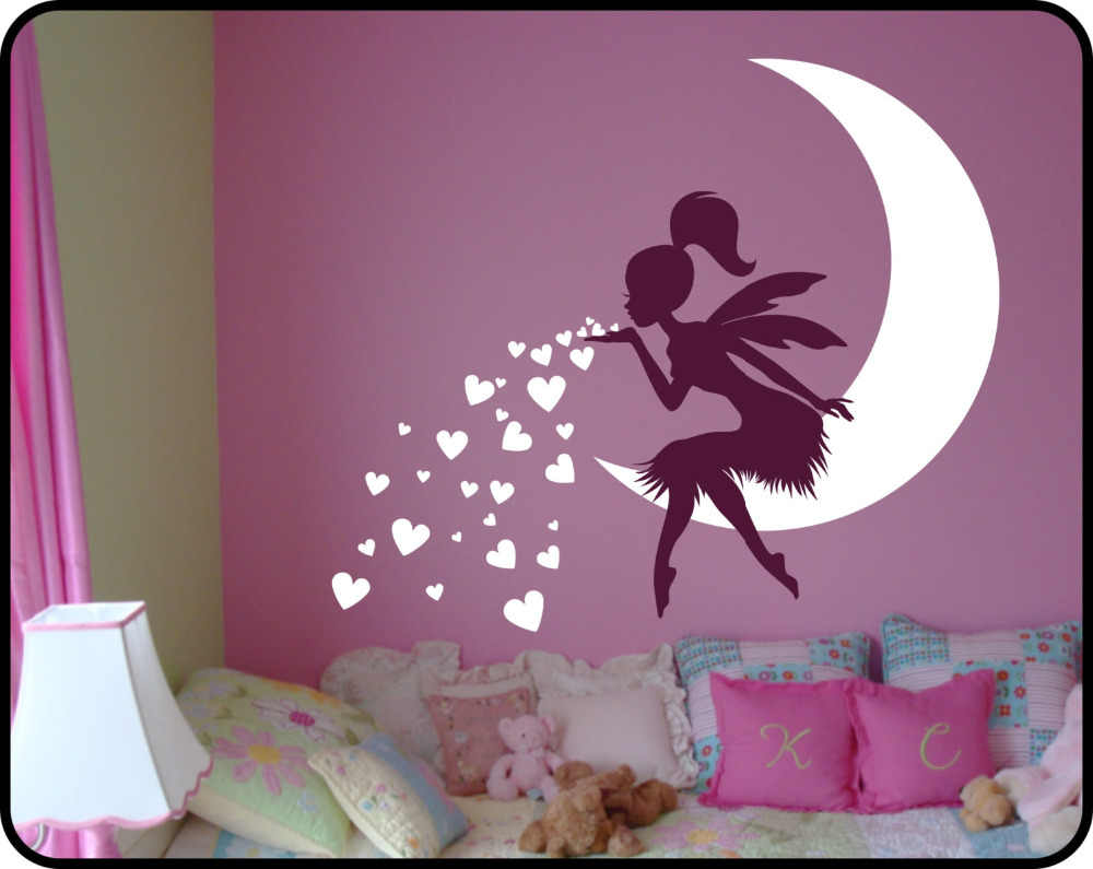 Princess Girl Bedroom Wall Decal Lovely Fairy On Moon heart Wall Stickers  For Kids Room Baby Nursery Wall Art Mural Vinilos A531