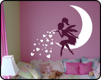 Princess Girl Bedroom Wall Decal Lovely Fairy On Moon Heart Wall Stickers For Kids Room Baby