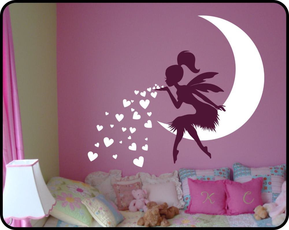 popular princess wall decals buy cheap princess wall decals lots princess girl bedroom wall decal lovely fairy on moon heart wall stickers for kids room baby