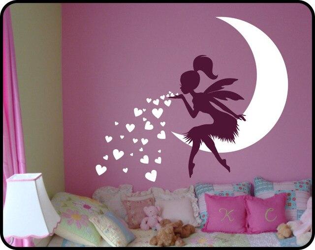 Prinses Kinderkamer Set : Prinses meisje slaapkamer muurtattoo mooie fee op maan hart muur