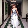 Новое Прибытие-Line Белый Знаменитости Платья 2016 Арабский Дубай Элегантные Вечерние Партия Платья Вышивка Пром Платье Vestido Лонго