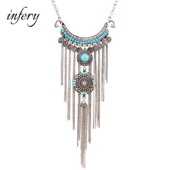 2019 New Women Bohemian Retro Fashion Long Tassel Pendant Necklaces Ethnic Maxi Statement Necklace 5N396