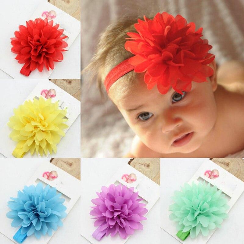 Hot Sale Baby Girl Elastic Hairband Children Hair Wear For Kids Head Band Flower Headband Baby Hair Accessories 2PCS