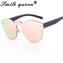 Fashion Luxury Round Frame Women's Rimless Sunglasses Female Brand Designer Sun Glasses Mirror Woman Sunglasses UV400