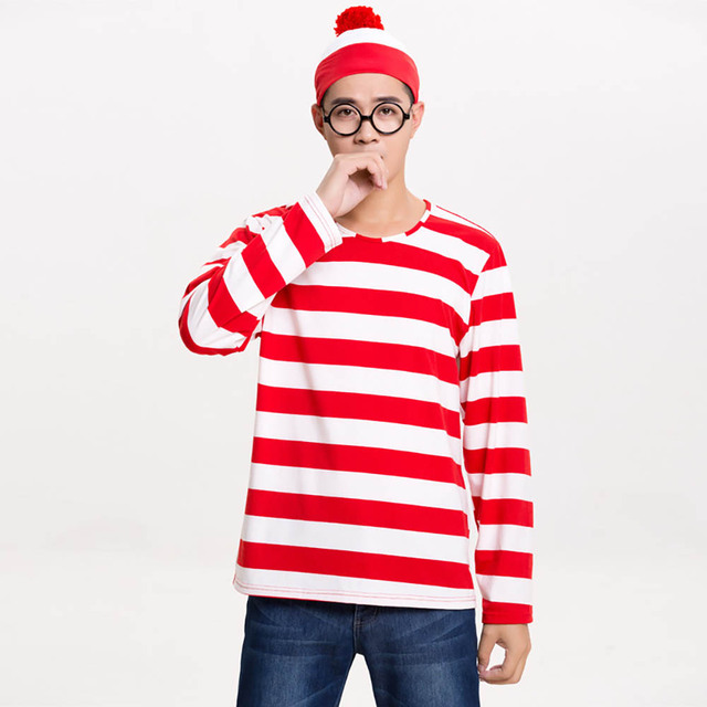 9abe21fe39b Wally is Where Costume Unisex Waldo Cosplay Fancy Dress Costume Red and  White Stripes T-shirt Hat Glasses Outfit Plus Size S-XXL