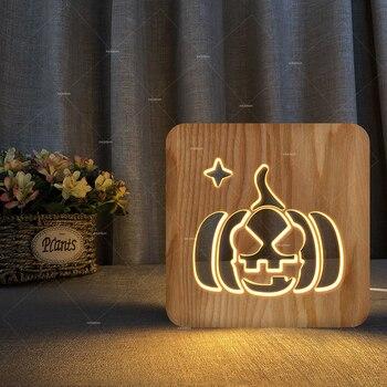 2018 mới Sáng Tạo 3D Ban Đêm đèn Bí Ngô Hình Dạng Cam Nhà Nhà Trang Trí bằng gỗ ánh sáng ban đêm