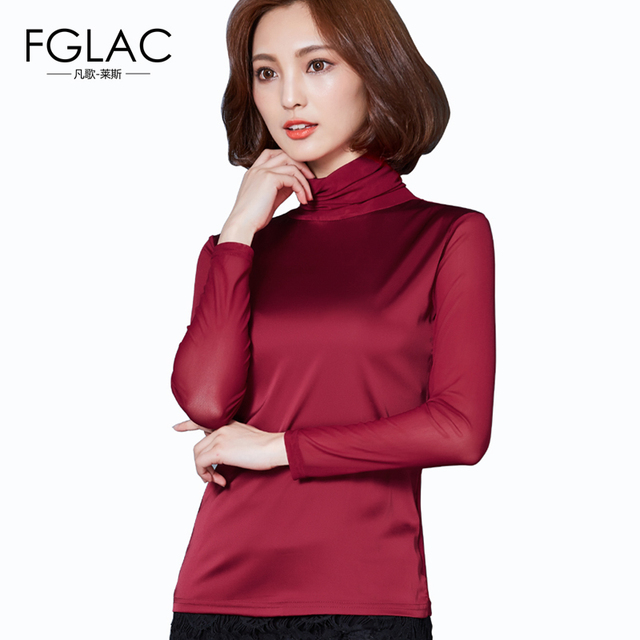FGLAC New Arrivals Turtleneck Women tops Fashion Casual long sleeved Women t-shirt Elegant Slim Mesh blusas plus size women tops