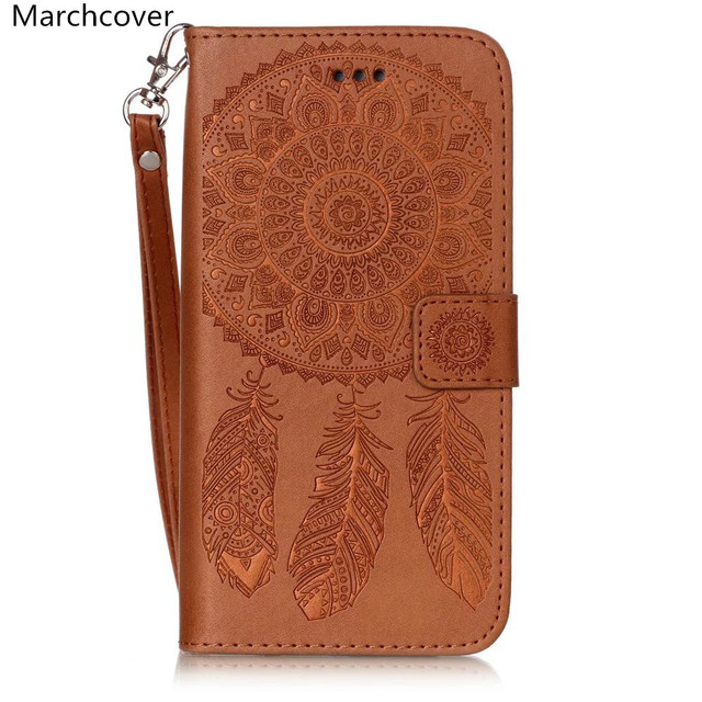release date 49e40 758cb US $2.99 |Marchcover Embossed Dream Catcher Wallet Leather case for iPhone  X 8 7 Plus Flip Stand Magnetic Card slots Phone Cover bag-in Wallet Cases  ...