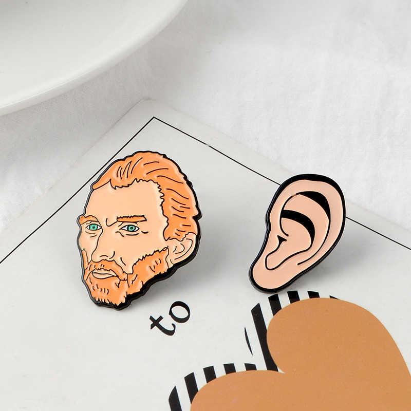 QIHE JEWELRY Van Gogh Enamel Pins Artist Brooches Van Gogh & Ear Lapel pin Brooches Badges Lapel pins