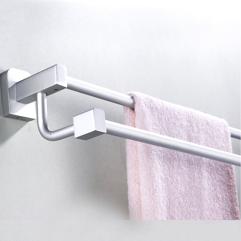 Waxing solid aluminum space frame double towel bar towel hanging