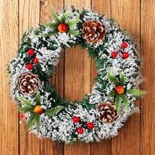20 см настенный Рождественский венок, украшение для рождества, вечерние гирлянда для двери, украшение для дома, праздничные аксессуары, Прямая поставка