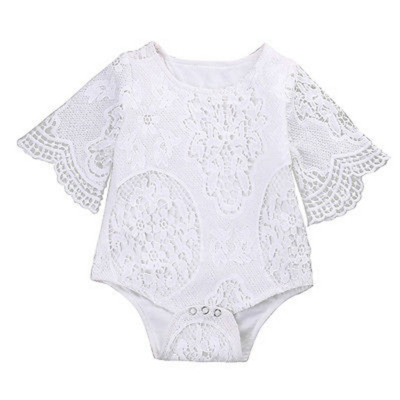 Lace Summer White Baby Girls   Romper   Newborn Baby Girl Lace Floral Long Sleeve   Romper   Body suit Jumpsuit Playsuit Sunsuit 0-2Y