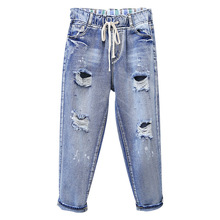 Plus Size 5XL Vintage Boyfriend Jeans For Women High Waist Mom Jeans Casual Loose Ripped Hole Trousers Woman Harem Denim Pants цена 2017