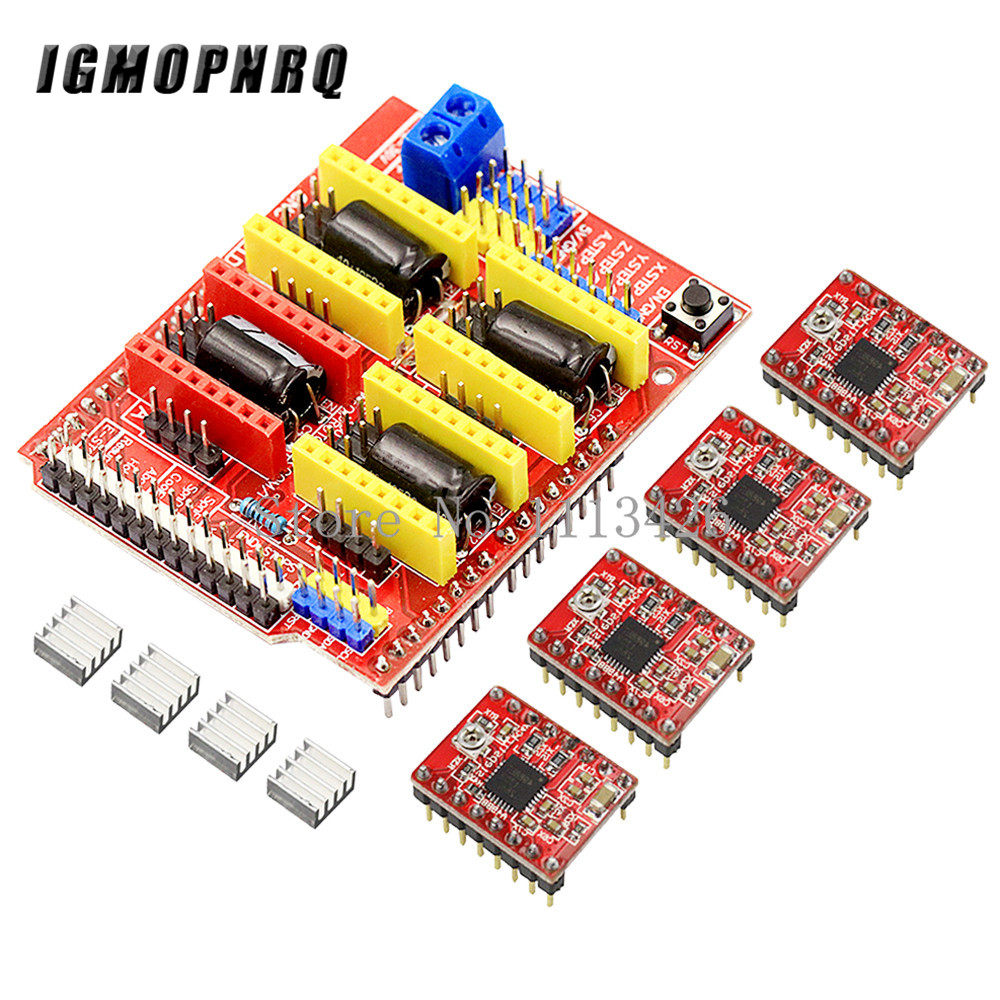 Cnc щит v3 гравировальный станок/3d принтер/+ 4 шт A4988 Плата расширения драйвера для Arduino
