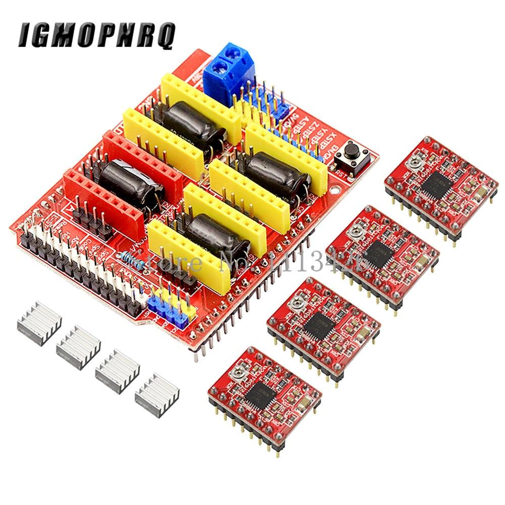 ЧПУ щит v3 гравировальный станок/3D-принтер/+ 4 шт. A4988 Плата расширения драйвера для Arduino