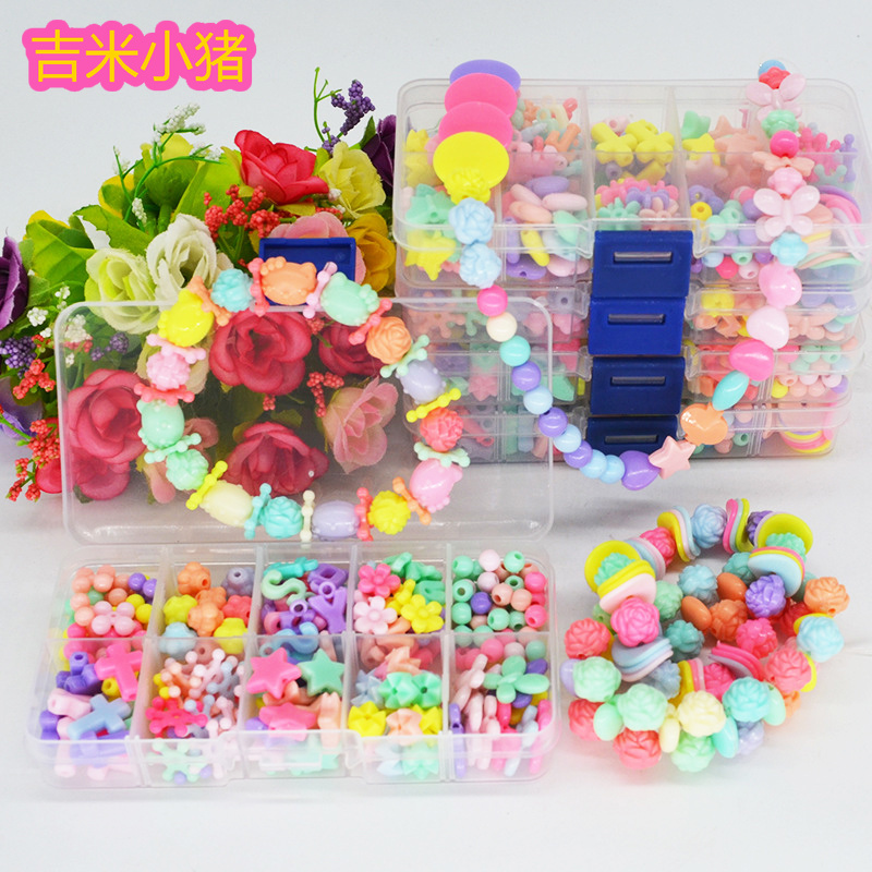 10 Slot Baby Beads Toys For Children Girl Gift Educational Toy Lacing Necklace Bracelet For Jewelry Needlework Material Bead Set