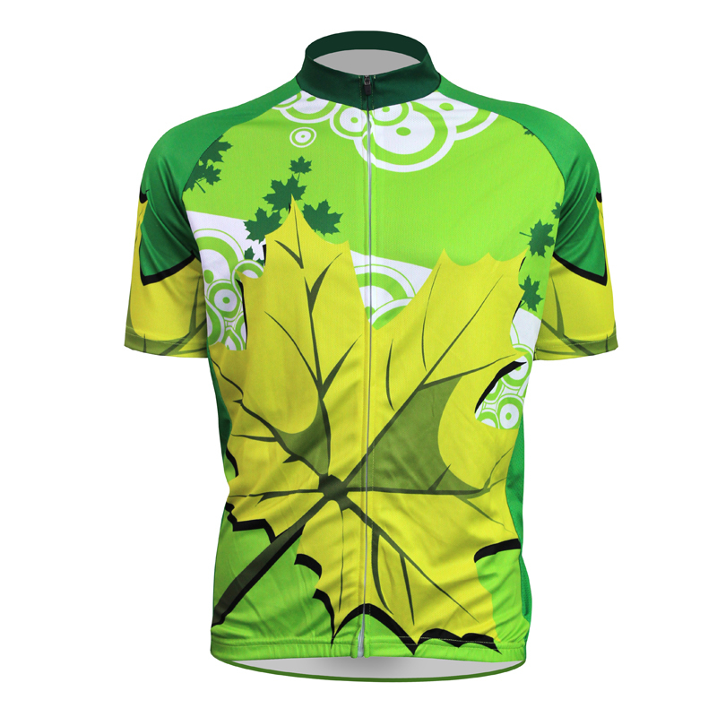 New Green maple leaf Cycling shirt bike equipment Mens Cycling Jersey Cycling Clothing Bike Shirt Size 2XS TO 5XL ILPALADIN new home electric exercise bike cycling machine people health recovery cardio aerobic fitness equipment