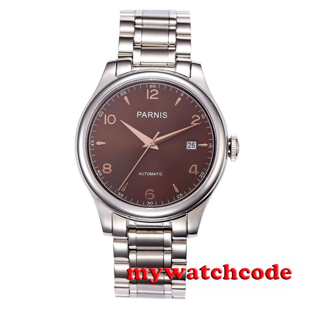 38mm Parnis coffee dial date Sapphire Glass miyota Automatic mens Watch P723 38mm parnis white dial date sapphire glass miyota automatic mens watch p723