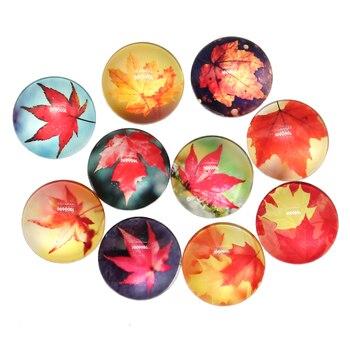 Nuevo de moda 10 Uds 25mm hoja Canadá Arce otoño hecho a mano cabujones de vidrio adorno DIY para fabricación de joyas artesanales