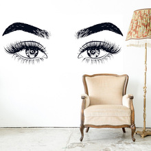 Art Salon Sticker Eyelashes Women Beauty Room Decoration Removeable Wall Design Colorful Poster Mural LY46
