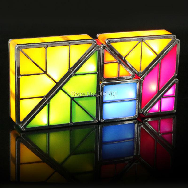 Yaratıcı kombinasyonu ile Tangram Manyetik oyuncaklar ışık - Yapı ve İnşaat Oyuncakları - Fotoğraf 3