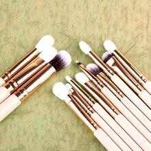 12Pcs Foundation Powder Eyeshadow Eyeliner Wooden Handle Wool Makeup Brush Set