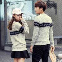 DoreenBow Women Men Couple Top Knitted Sweaters Autumn Winter Long Sleeve O Neck Outerwear Pullovers Khaki