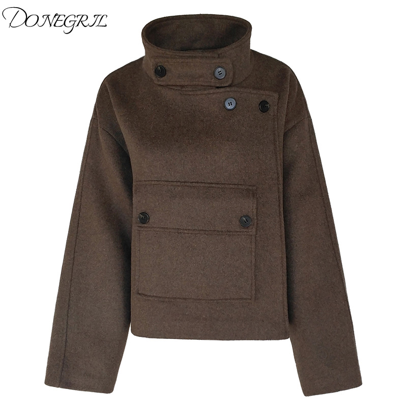 2018 Restoring ancient ways Winter Fashion Women Jackets Short Woolen Coat Big Pocket Stand Collar Long Sleeve Coat Loose Coat
