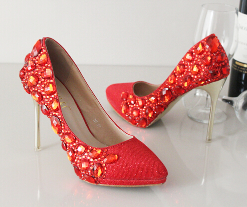 red Crystal wedding shoes bridal shoes rhinestone handmade women's shoes thin heels high-heeled pointed toe pumps