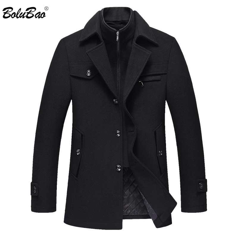 BOLUBAO Men Winter Wool Coat Men's New High Quality Solid Color Simple Blends Woolen Pea Coat Male Trench Coat Casual Overcoat-in Wool & Blends from Men's Clothing