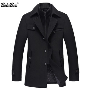 Image 1 - BOLUBAO Men Winter Wool Coat Mens New High Quality Solid Color Simple Blends Woolen Pea Coat Male Trench Coat Casual Overcoat