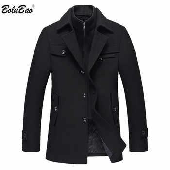 BOLUBAO Men Winter Wool Coat Men\'s New High Quality Solid Color Simple Blends Woolen Pea Coat Male Trench Coat Casual Overcoat - DISCOUNT ITEM  44 OFF Men\'s Clothing