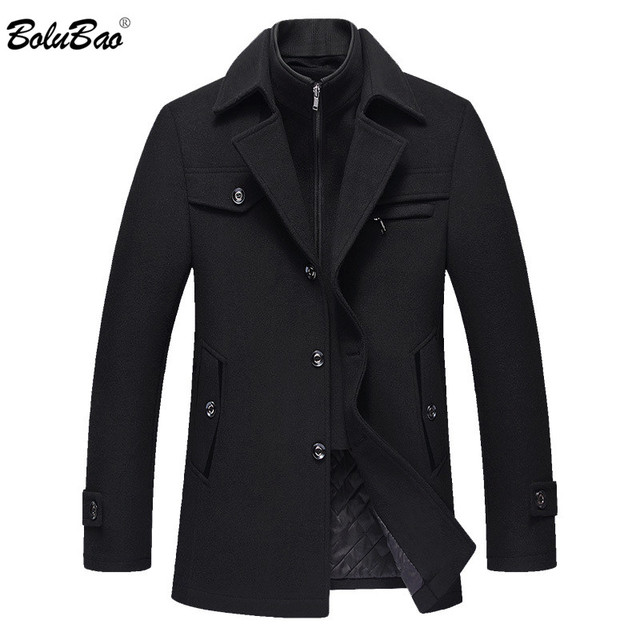 BOLUBAO Men Winter Wool Coat Mens New High Quality Solid Color Simple Blends Woolen Pea Coat Male Trench Coat Casual Overcoat