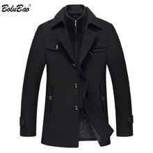 BOLUBAO erkekler kış yün ceket erkek yeni yüksek kalite düz renk basit karışımı yün bezelye ceket erkek trençkot casual palto