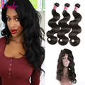 360 Lace Frontal With Bundle Peruvian Virgin Hair Body Wave With Frontal Closure Human Hair Weave Bundles With 360 Lace Frontal