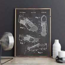 Zapatos de fútbol patente, arte de la pared del fútbol, carteles, decoración de la habitación, impresión vintage, plano, idea de regalo, decoraciones de pared deportivas