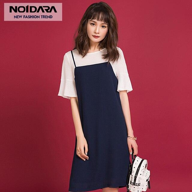 8db95b60 NO.1 DARA Korean Sexy O neck strap mini dress women Loose Half Butterfly  Sleeve