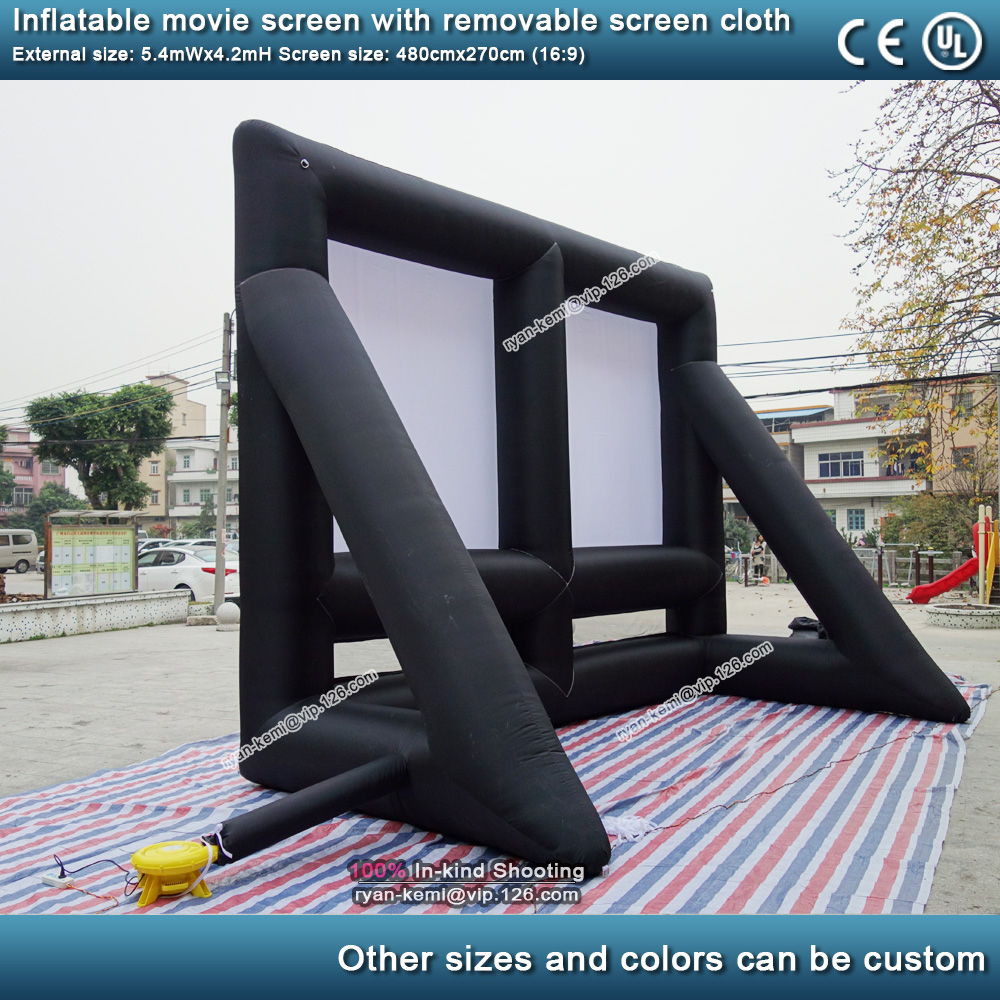 5.4m 16 to 9 outdoor inflatable movie screen with removable screen cloth Portable air screen projector cinema commercial projection screen 4