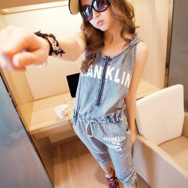 2016 new summer Korean style women  jumpsuit slim fashion denim harem pants jeans jumpsuit  trousers women free shipping j171