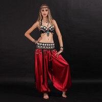 גודל S-XL בגדי ריקודי בטן שבטי 2 יחידות סט חזיית מטבעות, סט תלבושות ריקודי בטן שבטיים טאסל צעיף ירך תחפושת מכנסיים