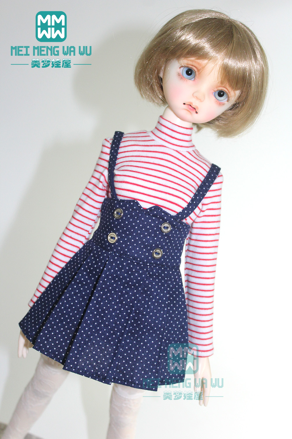 Clothes For Doll Fits 43cm MSD 1/4 BJD Doll Striped Long T-shirt And Pleated Skirt