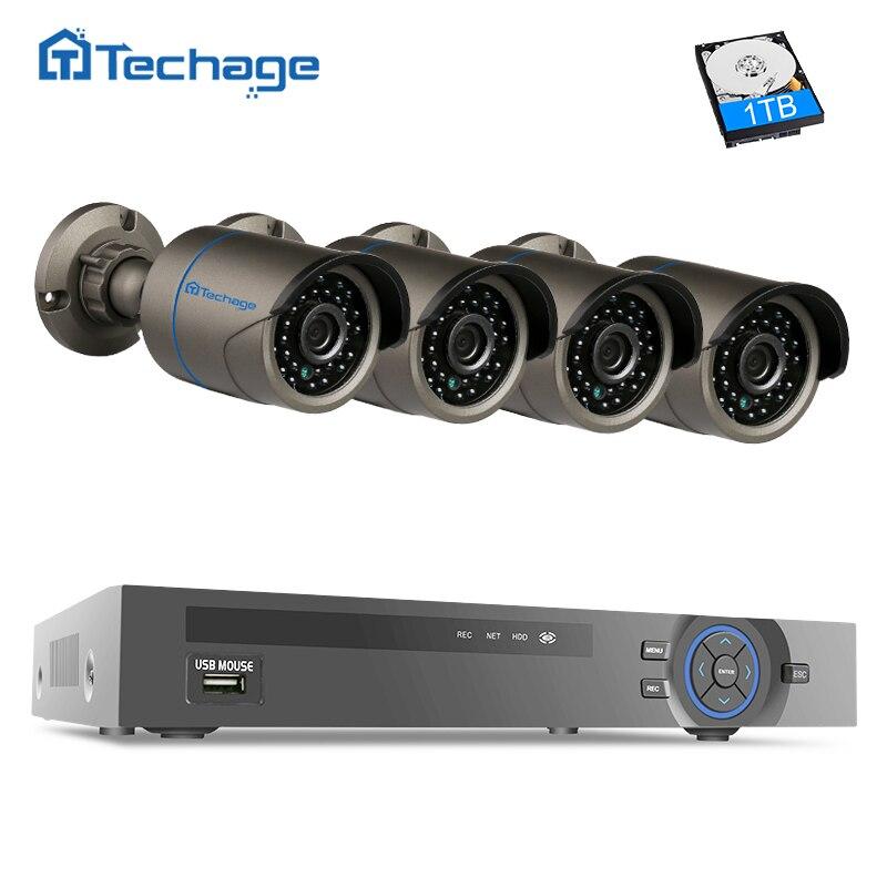 bilder für Techage Home Security 4CH POE NVR System Kit mit 4 stücke Outdoor Indoor 1080 P 2.0MP CCTV Überwachung Ip-kamera, telefon Romote Ansicht