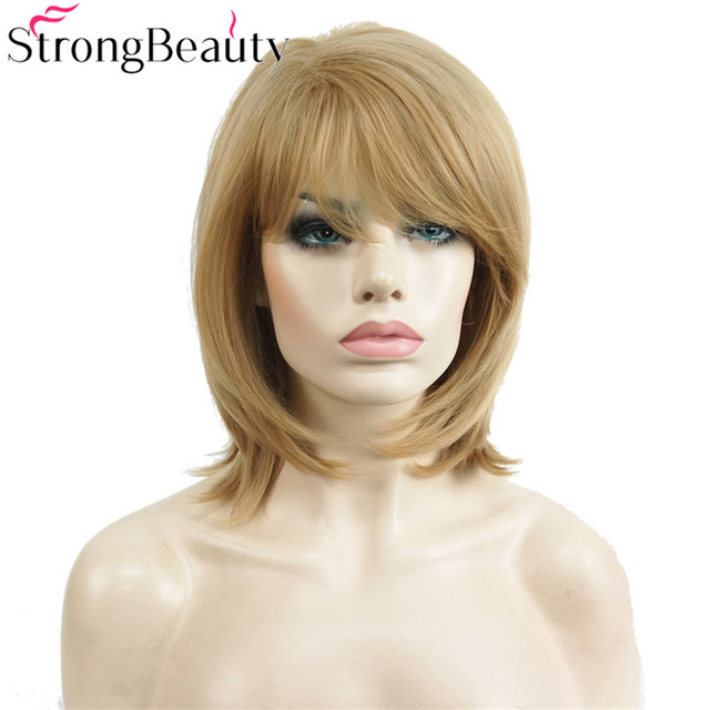 StrongBeauty Short Natural Straight Golden Blonde Wig Heat Resistant Full  Synthetic Wigs Women s Hair b5e98342ee