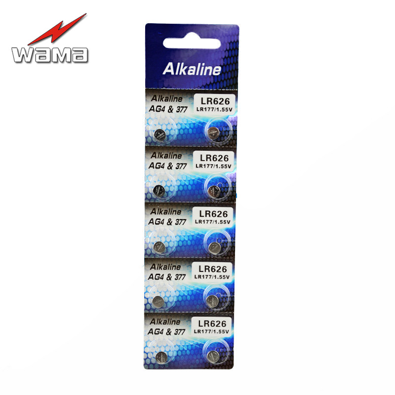 10pcs/lot Wama AG4 1.5V Button Cell Batteries LR626 LR66 377 SR626SW 177 Cell Watch Toys Battery Wholesales accell replacement 1 5v 26mah ag4 lr626 377 sr626 177 button batteries 10 pcs