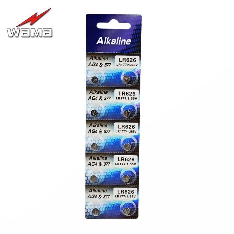 10pcs/lot Wama AG4 1.5V Button Cell Batteries LR626 LR66 377 SR626SW 177 Cell Watch Toys Battery Wholesales