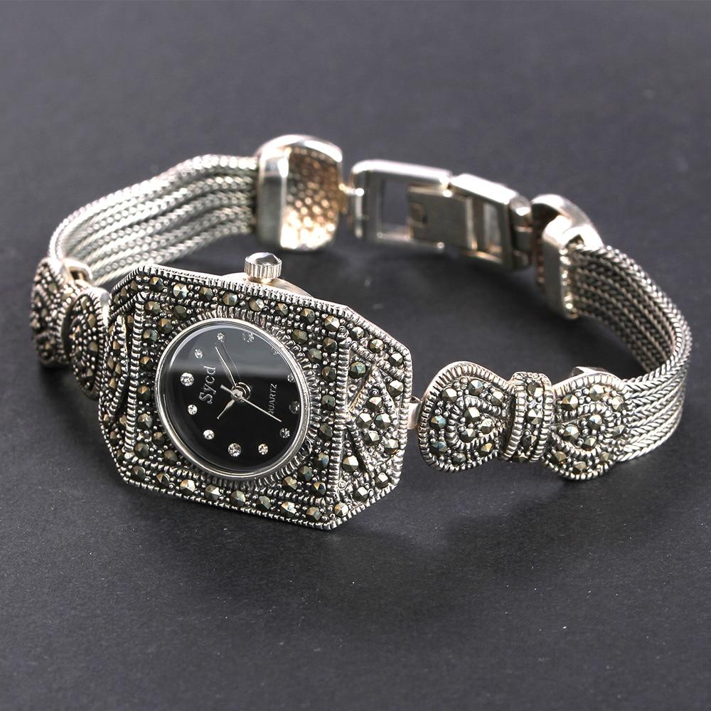 JIASHUNTAI 100% Prata 925 Relógio Do Vintage Para Mulheres Retro Relógio Relógio Pulseiras Do Sexo Feminino Jóias de Prata Esterlina 925 - 3